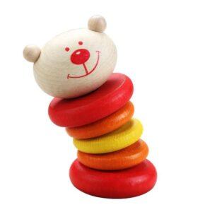 Дървена дрънкалка - мече - Детски играчки - Бебешки играчки - Дървени играчки