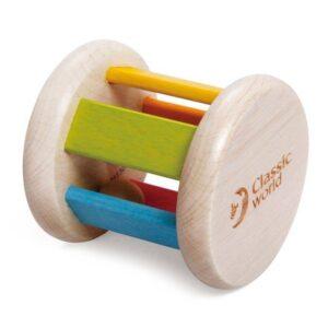 Дървена дрънкалка - валяче с топче - Детски играчки - Бебешки играчки - Дървени играчки