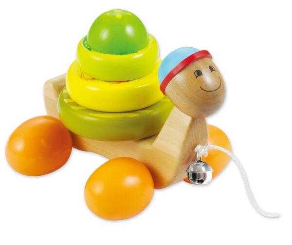 Дървена играчка Костенурка за дърпане - Детски играчки - За дърпане и бутане - Дървени играчки
