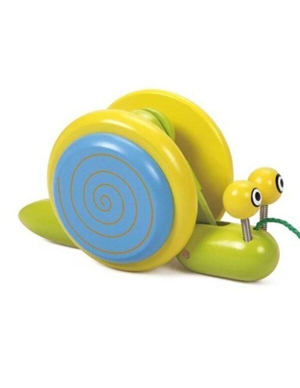 Дървена играчка - Охлюв за дърпане - Детски играчки - За дърпане и бутане - Дървени играчки
