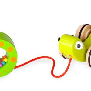 Дървена играчка Охлювче за дърпане - Детски играчки - За дърпане и бутане - Дървени играчки