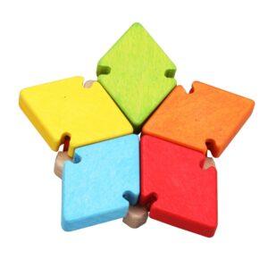 Дървена играчка цвете с огледало - Детски играчки - Бебешки играчки - Дървени играчки