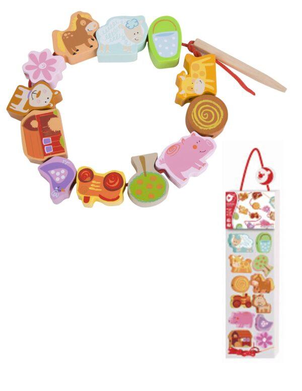 Дървена играчка за нанизване - Ферма - Детски играчки - Образователни играчки - Дървени играчки