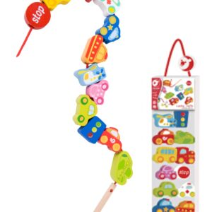 Дървена играчка за нанизване - Превозни средства - Детски играчки - Образователни играчки - Дървени играчки