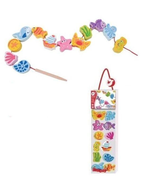 Дървена играчка за нанизване с Морски обитатели - Детски играчки - Образователни играчки - Дървени играчки