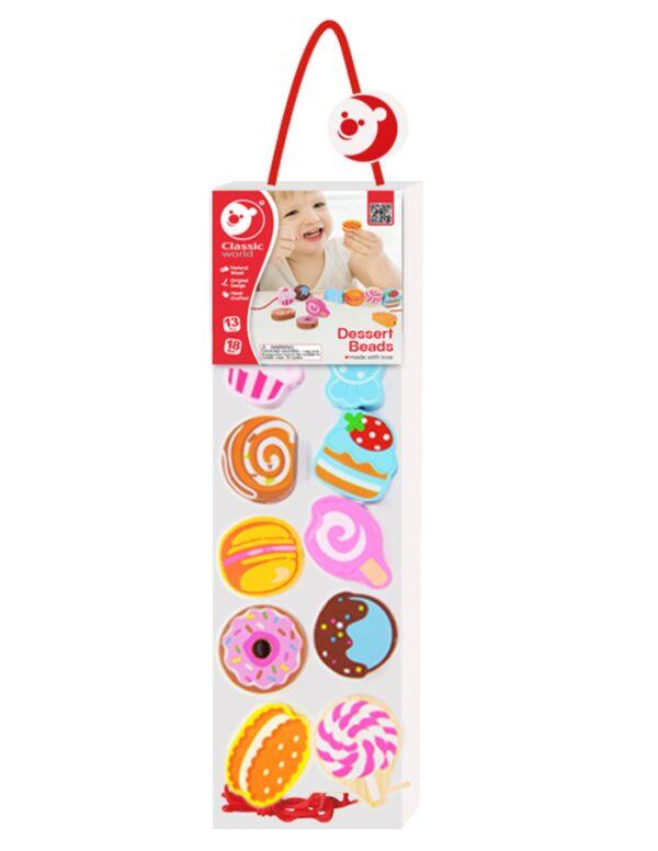 Дървена играчка за нанизване - Сладкиши - Детски играчки - Образователни играчки - Дървени играчки