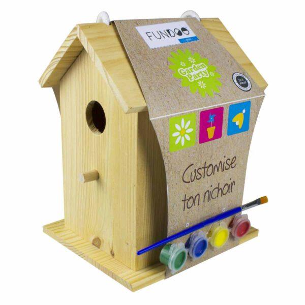 Дървена къщичка за птички с бои за оцветяване - Детски играчки