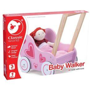 Детска розова количка за кукли - проходилка - Детски играчки - За дърпане и бутане - Дървени играчки