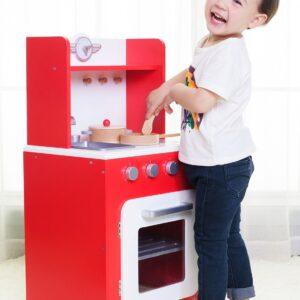 Дървена кухня за игра - червена - Детски играчки - Кухни за игра - комплекти и консумативи - Дървени играчки