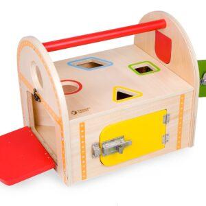 Дървена кутия - сортер с различни ключалки - Детски играчки - Образователни играчки - Дървени играчки