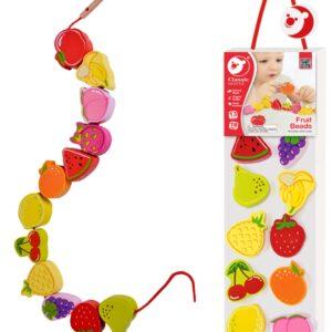Дървена Мъниста за нанизване - Плодчета - Детски играчки - Образователни играчки - Дървени играчки