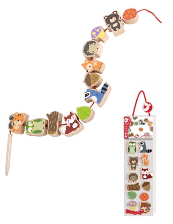 Дървена мъниста за нанизване с Горски животни - Детски играчки - Образователни играчки - Дървени играчки