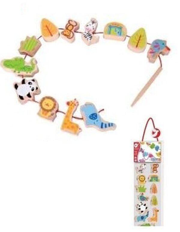 Дървена мъниста за нанизване със ЗОО животни - Детски играчки - Образователни играчки - Дървени играчки