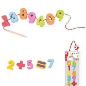 Дървена образователна игра с Числа за низане - Детски играчки - Образователни играчки - Дървени играчки