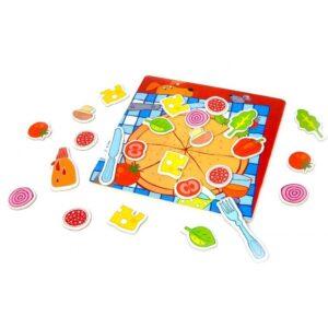 Дървена пица с магнитни части - Детски играчки - Образователни играчки - Дървени играчки