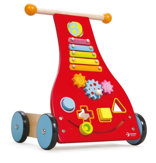Дървена проходилка - уокър с активности - Детски играчки - За дърпане и бутане - Дървени играчки