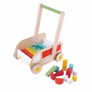 Дървена проходилка за бебета с кубчета за нареждане - Детски играчки - За дърпане и бутане