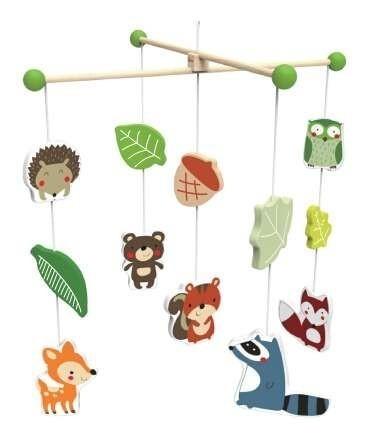"""Дървена въртележка за кошара """"Горските обитатели"""" - Детски играчки - Бебешки играчки - Дървени играчки"""