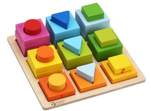 Дървени блокчета с различна геометрична форма - Детски играчки - Образователни играчки - Дървени играчки