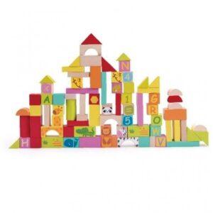 Дървени блокчета за нареждане - 102 бр. - Детски играчки - Конструктори - Дървени играчки