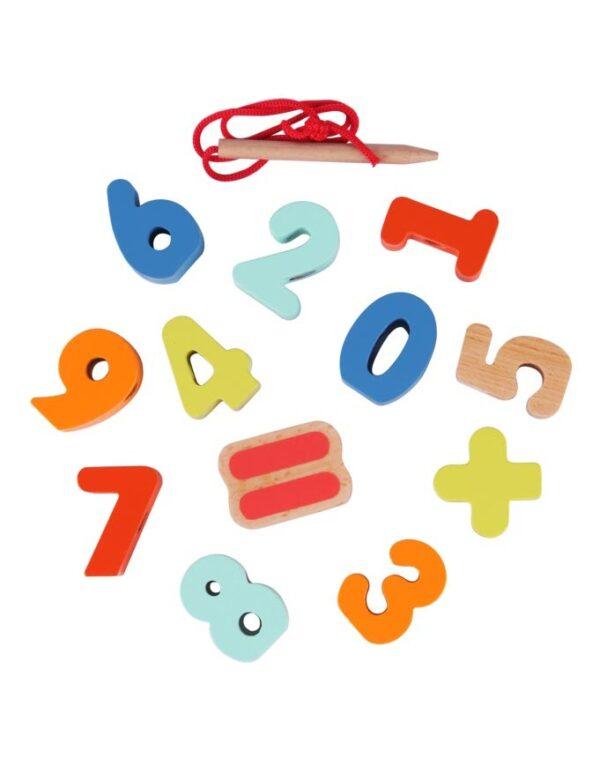 Дървени цифри за нанизване - Детски играчки - Образователни играчки - Дървени играчки