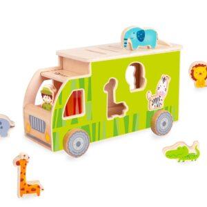 Дървено камионче - сортер с животни - зелен - Детски играчки - За дърпане и бутане - Дървени играчки