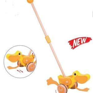 Дървено пате за бутане - Детски играчки - За дърпане и бутане - Дървени играчки
