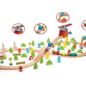 Дървено влакче с релси - 75 части - Детски играчки - Конструктори - Дървени играчки