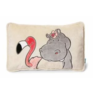 Декоративна плюшена възглавничка с хипопотам и фламинго - За бебето - Аксесоари за детска стая - Възглавници за спане и кърмене