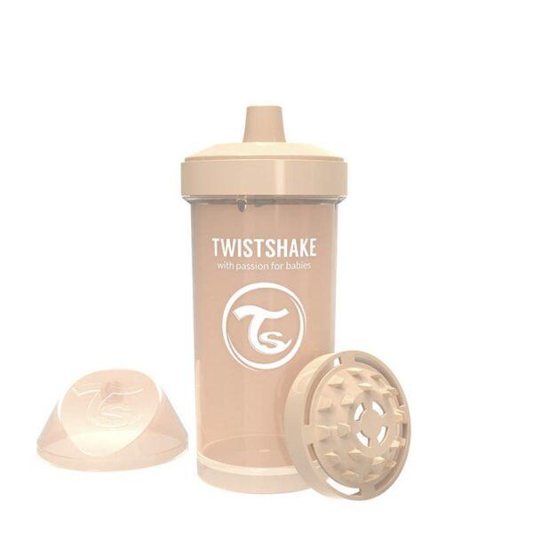 Детска чаша с шейкър Twistshake 360 мл 12+ месеца бежова - За бебето - Хранене - Детски и бебешки чаши