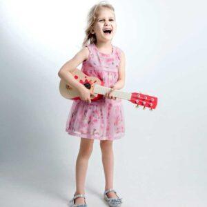 Детска дървена китара - Звезда - Детски играчки - Музикални инструменти - Дървени играчки