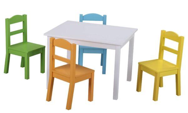 Детска дървена маса с 4 стола - Детски играчки - Къщи за игра, маси и столове - Дървени играчки