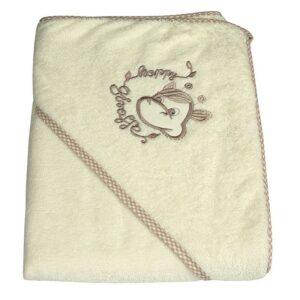 Детска хавлия с качулка - жираф екрю - За бебето - Детски и бебешки аксесоари за баня - Хавлии и кърпи за баня