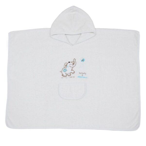 Детска хавлия за баня тип пончо бяла - За бебето - Детски и бебешки аксесоари за баня - Хавлии и кърпи за баня
