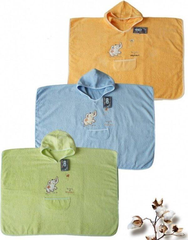 Детска хавлия за баня тип пончо жълта - За бебето - Детски и бебешки аксесоари за баня - Хавлии и кърпи за баня