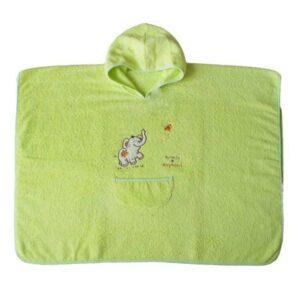 Детска хавлия за баня тип пончо светло зелена - За бебето - Детски и бебешки аксесоари за баня - Хавлии и кърпи за баня