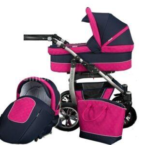 Детска количка 2 в 1, Baby Merc, модел Leo - Черно / Розово - Бебешки колички - Комбинирани бебешки колички 2 в 1