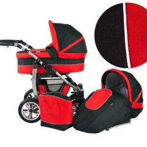 Детска количка 2 в 1, Baby Merc, модел Leo - Черно с червено - Бебешки колички - Комбинирани бебешки колички 2 в 1