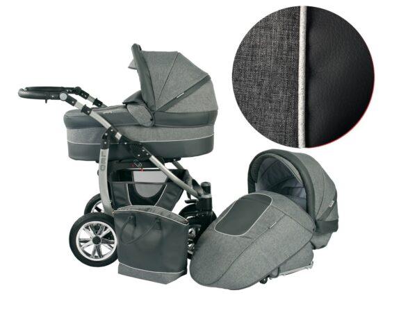 Детска количка 2 в 1, Baby Merc, модел Leo - Сива - Бебешки колички - Комбинирани бебешки колички 2 в 1