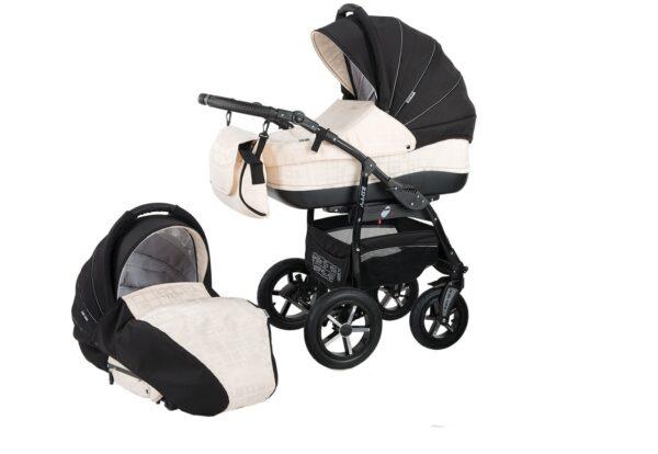 Детска количка Baby Merc 2 в 1 модел ZIPY черна с бяло - Бебешки колички - Комбинирани бебешки колички 2 в 1