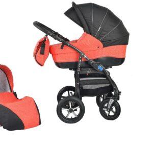 Детска количка Baby Merc 2 в 1 модел ZIPY черна с червено - Бебешки колички - Комбинирани бебешки колички 2 в 1