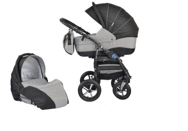 Детска количка Baby Merc 2 в 1 модел ZIPY черна със сиво - Бебешки колички - Комбинирани бебешки колички 2 в 1