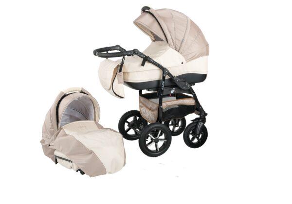 Детска количка Baby Merc 2 в 1 модел ZIPY кремава и капучино - Бебешки колички - Комбинирани бебешки колички 2 в 1