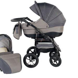 Детска количка Baby Merc 2 в 1 модел ZIPY сива - Бебешки колички - Комбинирани бебешки колички 2 в 1