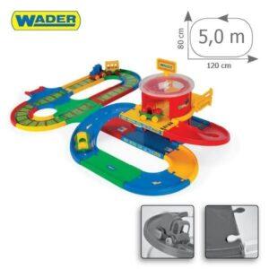Детска писта - жп гара с магистрала и паркинг - Детски играчки - Детски гаражи и писти