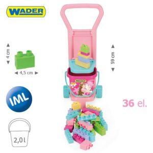 Детска розова количка с голям конструктор - Детски играчки - Конструктори