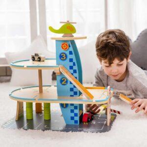 Детски дървен гараж с колички - 3 нива - Детски играчки - Къщи за игра, маси и столове - Дървени играчки