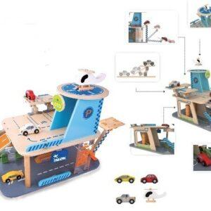 Детски дървен гараж с колички - Детски играчки - Детски гаражи и писти - Дървени играчки