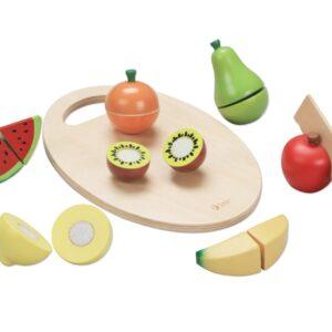 Детски дървен комплект за рязане - плодове - Детски играчки - Кухни за игра - комплекти и консумативи - Дървени играчки