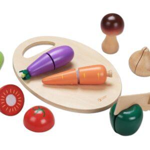 Детски дървен комплект за рязане - зеленчуци - Детски играчки - Кухни за игра - комплекти и консумативи - Дървени играчки